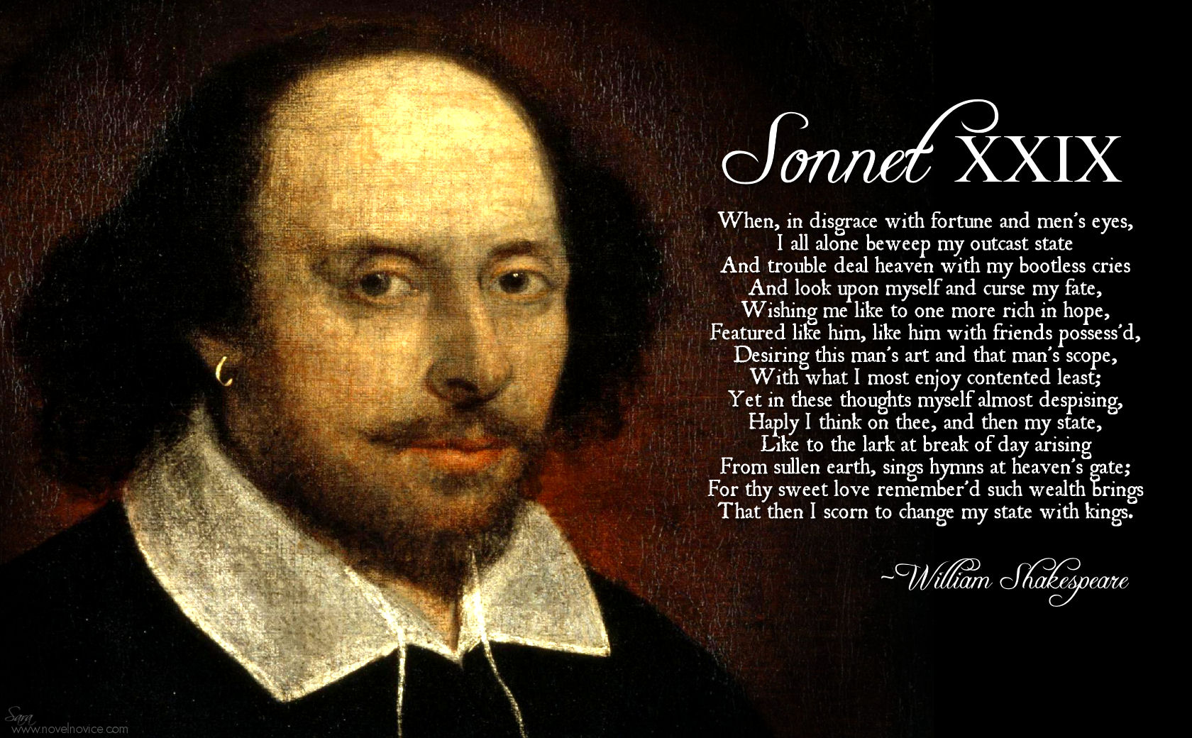 shakespeare sonnet 29 What is the main metaphor for shakespeare sonnet 29 i have no clue what the metaphor is can anyone help.